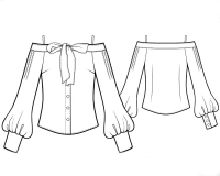 Выкройка блузки с открытыми плечами